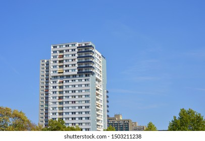 Halle Saale, Germany 09-19-2018 modernized real estates with block of flats in the Neustadt district