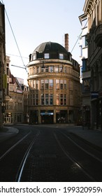 HALLE (SAALE), GERMANY - Apr 19, 2020: Building in the center of Halle (Saale)