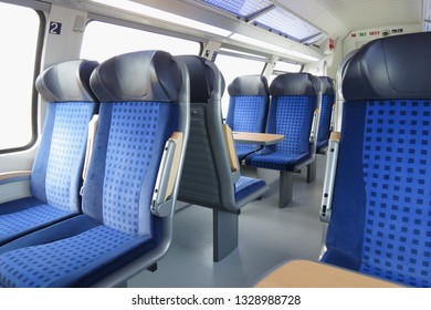 HALLE (SAALE), GERMANY - CIRCA MARCH 2013 - blue train seats empty useful as travel concept