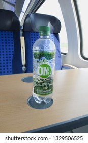 HALLE (SAALE), GERMANY - CIRCA MARCH 2016: ON Express - Quellwasser mit Kohlensaures (meaning mineral water with carbonic acid)