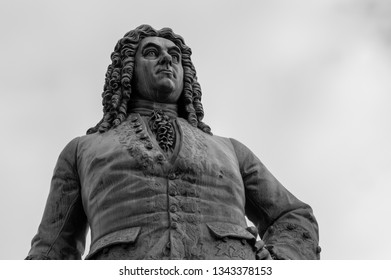 Halle (Saale) / Germany - February 27th 2017: Statue of George Frideric Handel at Market Square in Old town of Halle, Germany.