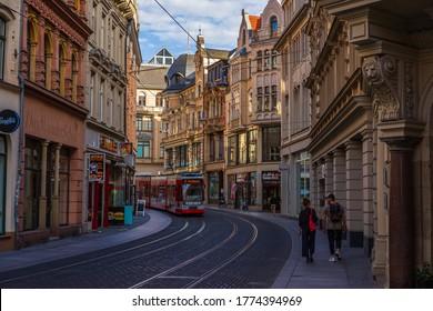 Halle (Saale), Germany - July 7, 2020: Street view of the city Halle (Saale) in Sachsen-Anhalt.