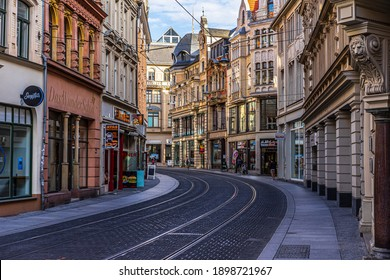 Halle (Saale), Germany - July 7, 2020: Empty city center of Halle (Saale) in east Germany.