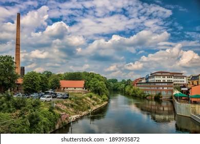 Halle Saale, Germany - June 21, 2019 - historical hall and saline museum on the saale