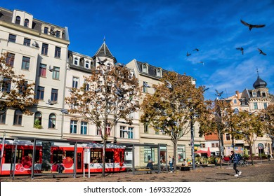 Halle Saale, Germany - October 22nd, 2019 - Hall market with tram