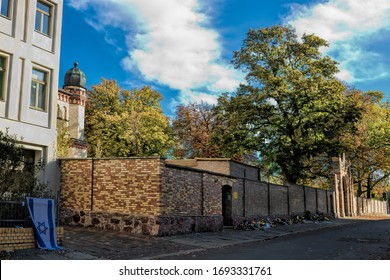 Halle Saale, Germany - October 22nd, 2019 - Synagogue in the Paulus Quarter with Israel flag