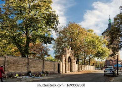 Halle Saale, Germany - October 22nd, 2019 - Synagogue in the Paulus quarter after the terrorist attack