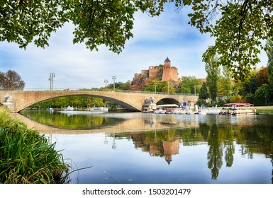 Halle Saale, view over the river Saale to the Burg Giebichenstein, Germany