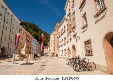 Hallein, Austria - September 12, 2018: Schoendorferplatz square with Town hall and World wars memorial in the old town of Hallein, Austria.