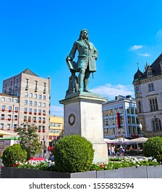 Halle/Saale, Germany-August 24, 2019: Monument to Georg Friedrich Handel, great baroque composer, in the Central Market Square