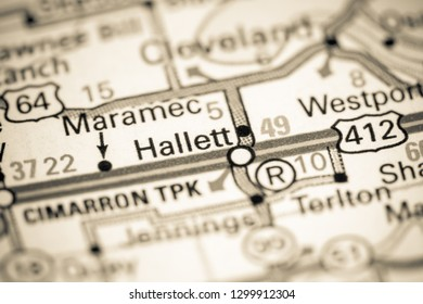 Hallett. Oklahoma. USA on a map