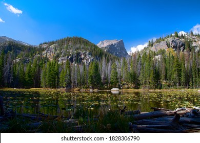 Hallett Peak seen from Nymph Lake at Rocky Mountain National Park