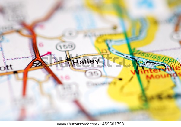 Halley Arkansas Usa On Geography Map Stock Image   Download Now