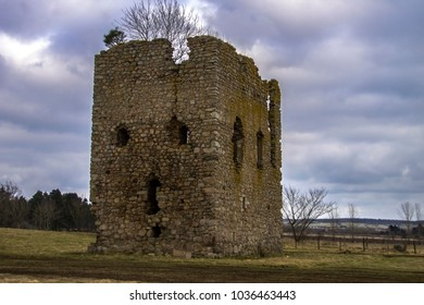 Hallforest Castle ruins - one of the oldest in Scotland. Kintore, Aberdeenshire, Scotland, United Kingdom. February 2018