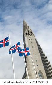 Hallgrimskirkja Cathedral and Icelandic Flags in Reykjavik, Iceland