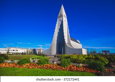 Hallgrimskirkja Cathedral in Reykjavik, Iceland, lutheran parish church, exterior in a sunny summer day with a blue sky