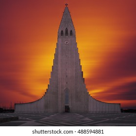 Hallgrimskirkja Cathedral in Reykjavik, Iceland, lutheran parish church, exterior in sunset composition with burning sky colors