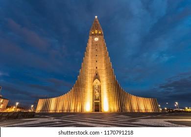 hallgrimskirkja church in central of reykjavik city during twilight in Iceland