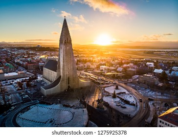 Hallgrimskirkja church and Reykjavik cityscape in Iceland aerial view