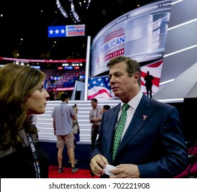 Hallie Jackson of NBC talking with Paul Manafort, Donald Trump's campaign manager on the floor of the Quicken Arena at the Republican National Convention in Cleveland Ohio, July, 2016.
