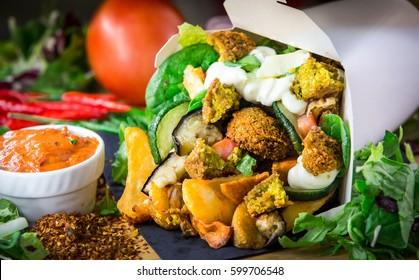 Halloumi and Falafel Box Potatoes, Salad, Vegetable , Kebab, oriental Fast Food