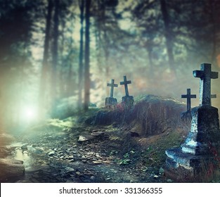 Halloween art design background. Foggy Graveyard at night. Old Spooky cemetery in moonlight through the trees
