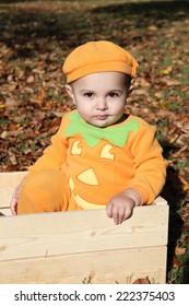Halloween baby dressed as a pumpkin amongst fall leaves