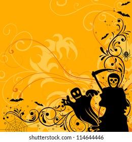 Halloween background with bat, ghost, element for design, illustration