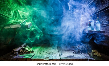 Halloween background with blue and green light and copy space