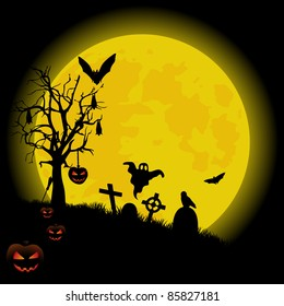 Halloween background with bright full moon.