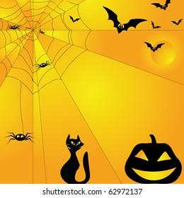 Halloween background with cat bat spider