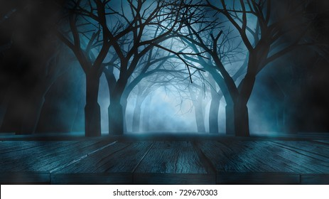 Halloween Background concept Spooky forest volumetric fog with many dead trees and wooden table foreground.3d rendering