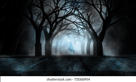 Halloween Background concept Spooky forest volumetric fog with ghost shadow and  many dead trees and wooden table foreground.3d rendering