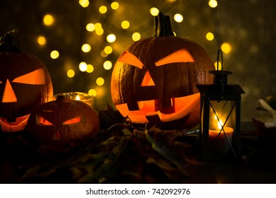 Halloween background.  Golden bokeh