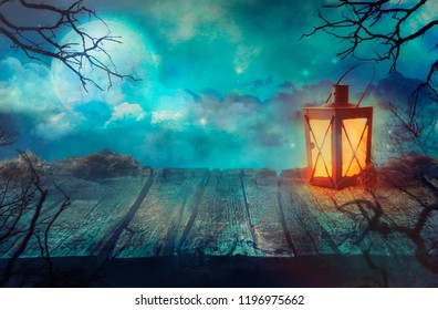 Halloween Background. Old Table With Lantern And Full Moon.