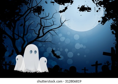 Halloween Background with Pumpkin and Ghost. Landscape.