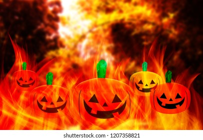 halloween background with pumpkin and orange background