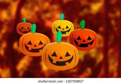 halloween background with pumpkin and orange background