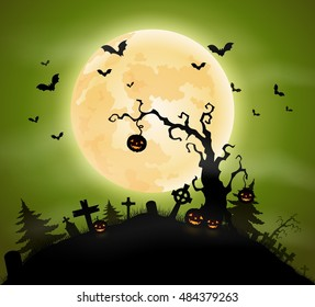 Halloween background with pumpkins hanging on tree and bats