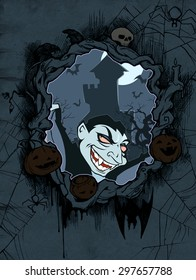 Halloween background with pumpkins, rat, spider web, bats and illustration of Count Dracula