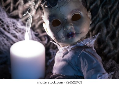 halloween background. scary doll without eyes. horror. creepy face