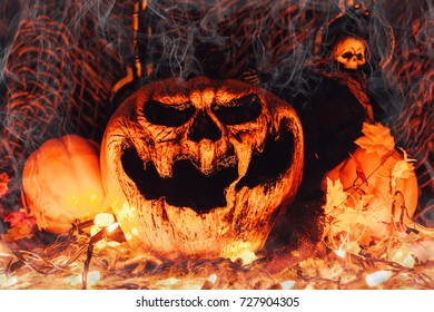 halloween background with scary pumpkin