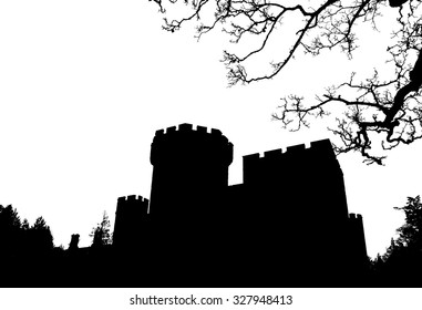 Halloween background, silhouette old Gothic castle with tree on white background