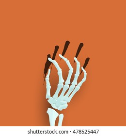 Halloween background with skeleton arm for promotional, party, sale offers, invitations design, banners.