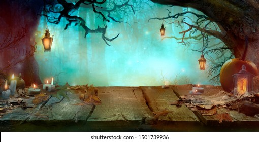 Halloween Background with Table and Lanterns in Dark Forest in Spooky Night. Halloween Design in Magical Forest