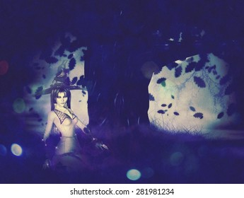 Halloween background with witch woman conjuring at night.