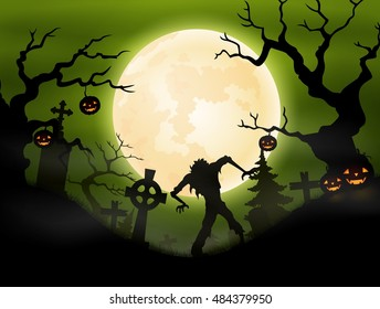Halloween background with zombie in graveyard