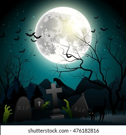 Halloween background with zombie hands, graveyard, bats on the full moon