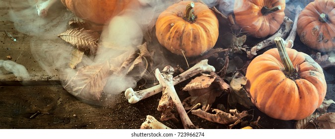 Halloween banner with pumpkins and dried bones with scattered autumn leaves in a smoky misty atmosphere viewed close up high angle full frame