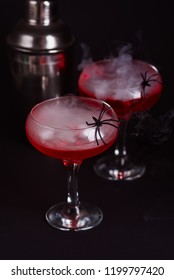 Halloween bloody cocktail with spider